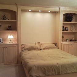 Murphy Beds - A full sized Murphy Bed including neighboring tall cabinets. View while open