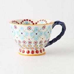 """Anthropologie - With A Twist Teacup - StonewareDishwasher and microwave safe13.25 oz3.25""""H, 4.75"""" diameterImported"""