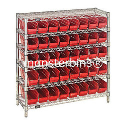 Wire Shelving - This shelving unit with plastic bins is available in many different sizes.  People use these in their garages, basements, closets, kitchen and many other areas including the office.