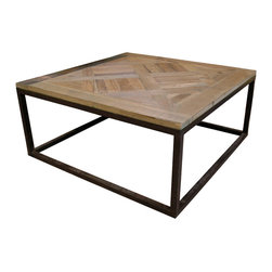 Kathy Kuo Home - Gramercy Modern Rustic Reclaimed Parquet Wood Iron Coffee Table - Simple enough to complement any decor, stylish enough to make a real statement. This coffee table boasts modern lines and a salvaged parquet wood surface to mix confidently with your other pieces.