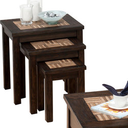 Jofran - Jofran Barkley 3 Nesting Chairside Tables w/ Wood Tile Tops - Solid Asian Hardwood, Elm Veneer and Wood Tiles. Tile Resemble Wood.