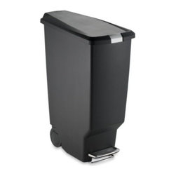 Simplehuman - simplehuman Black Slim Plastic Step Can - Its stylish and space-efficient design means you can store this sharp-looking, user-friendly 40-liter step can almost anywhere.