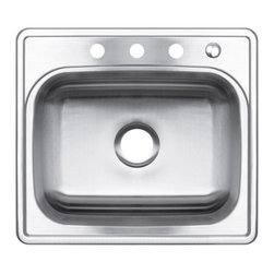 "AKDY - AKDY 25"" Kitchen Sink Top Mount Stainless Steel Single Bowl Basin AG-ZT2522C184, - Along with its classically angled corners and gently curving faucet deck, the AKDY sink offers innovative technology for quiet performance. The stainless-steel Single basin features an engineered sound-absorption system that significantly reduces disposal and dishwashing noise for a quieter kitchen environment. A raised outer rim helps keep your counter dry."