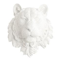 White Faux Taxidermy - White Faux Taxidermy - Large Tiger Head - Fake Animal Mounts - Measurements: