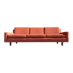 Used Milo Baughman Orange Tweed Sofa - Wonderful sofa designed by Milo Baughman for Thayer Coggin, in an orange tweed fabric. Excellent condition with solid rosewood legs, great profile and lines. USA, circa 1960s.