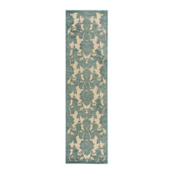 """Nourison - Nourison Graphic Illusions GIL03 2'3"""" x 8' Teal Area Rug 13308 - A traditional damask design takes a sophisticated stroll on the ultra-chic side thanks to a two-toned raised pattern in dazzling shades of teal and pink gold. Its distinctive border lends a subtle yet defining contrast. Meanwhile, its high-low loop pile construction and sublime hand carving create the ultimate in touchable textures."""