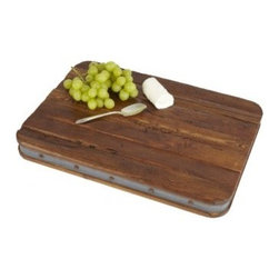 "Europe2You - Vintage Wooden and Galvanized Metal Harvest Board - Define your presentation with a touch of class and sophistication using our exceptional wooden harvest and serving board! Whether serving as an eye catching centerpiece for cheese and fruit, or laden with after dinner treats, this harvest board made of reclaimed wood welcomes guests with warmth.   Lined with a strip of galvanized steel at its edge, our high quality serving board complements any decor with its rustic elegance.                                   * Dimensions: W: 13"" H: 2"" D: 18"""