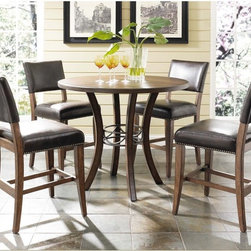 Hillsdale Furniture - Hillsdale Cameron 5 Piece Counter Height Round Wood Dining Table Set with Parson - Shop for Bar and Pub Tables with Stools from Hayneedle.com! Comfortable and stylish the Hillsdale Cameron 5 pc. Counter Height Round Wood Dining Table Set with Parson Chairs is the perfect spot for window-gazing over your morning coffee. This counter-height table comes with four counter chairs each upholstered in dark brown faux leather with decorative nail head trim. Gracefully curved legs and a dark gray metal ring accent complete this counter-height table's beautiful look. About Hillsdale FurnitureLocated in Louisville Ky. Hillsdale Furniture is a leader in top-quality affordable bedroom furniture. Since 1994 Hillsdale has combined the talents of nationally recognized designers and globally accredited factories to bring you furniture styling and design from around the globe. Hillsdale combines the best in finishes materials and designs to bring both beauty and value with every piece. The combination of top-quality metal wood stone and leather has given Hillsdale the reputation for leading-edge styling and concepts.