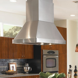 """Vent-A-Hoodtion Emerald Lip Collection Island Mounted Range Hood SEPIH18-236 55 - The Euroline Pro Series with Emerald Lip is boldly designed to cover light residential, """"commercial type"""" cooking equipment. The Euroline Pro Series with Emerald Lip is also available with a 26"""" wide x 14"""" deep top to allow for higher CFM motor requirements. Heat lamps are not available on this model. Matching wall mount duct covers (sold separately) are available in standard sizes for 8', 9', and 10' ceiling heights or in custom sizes. All Vent-A-Hood products are suitable for use in damp locations (outdoor applications such as a covered patio) when installed in a GFCI protected branch circuit. The SEPIH18-236 has a 550 CFM motor with a dual Blower. Added to the range hood are Emerald Lip to keep you safe in low light times."""