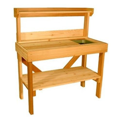 Cedar Wood Potting Bench with Sink - Accent your garden with the Cedar Wood Potting Bench with Sink! This cedar potting bench is the perfect place to store all your garden necessities - from potting soil to trowel, planters to seed packets, and everything in between. This Potting Bench has an inset Rubbermaid bin to house potting soil so you can keep the mess to a minimum and still have everything you need right at your fingertips. It also has a generous work space so you have plenty of room to spread out and enjoy your gardening. When you aren't gardening, the Cedar Wood Potting Bench would also work great as an outdoor hutch on the deck for entertaining. Clean out the inset bin, add some ice, and you have an outside cooler to keep drinks cold when entertaining or grilling. Give the gardeners or outdoor lovers in your family the means to enjoy themselves even more with the Cedar Wood Potting Bench with Sink.What are some of the benefits of buying cedar?It's durable and strong - Western Red Cedar is lightweight but stable and is less likely to crack and warp than even treated lumber. Western Red Cedar contains oils that act as preservatives to deter insect attack and decay. This same oil gives cedar its distinctive smell.It stays cool - Western Red Cedar doesn't absorb much heat, so even on very hot days, your cedar furniture will stay cool.It's a superior alternative - Western Red Cedar looks better than plastic or resin, and is a far superior, non-toxic alternative to chemically treated wood. These wood products, often referred to as pressure-treated, are soaked in chemical preservatives and require warning labels for anyone handling them.About Aquila Cedar ProductsAquila Cedar Products is dedicated to producing the finest Western Red Cedar products, with attention to detail, quality, productivity, and timely delivery. Aquila cedar products include fencing, siding, sheds, benches, tables, outdoor chairs, building materials, and more. Aquila is based in Parksville, British Columbia, Canada. Please note this product does not ship to Pennsylvania.
