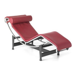 "IFN Modern - Le Corbusier LC4 Inspired Lounge Chair-Red - 100% Italian Leather - The most coveted and successful design from Le Corbusier's original designs of the 1920s would undoubtedly have to be the Le Corbusier LC4 Lounge Chair. This chair was first showcased in 1929 at the Salon D'Automne in Paris, France. The Le Corbusie LC4 Lounge Chair, created in 1928,  was the result of a collaborative vision in 1928 and the influential designers behind Le Corbusier's vision included Pierre Jeanneret and Charlotte Periand. This chair was originally commissioned for the interior design of a villa located in the Vilee d'Avray- located in the western suburbs of Paris, France. Otherwise known as the ""relaxing machine,"" the LC4 Lounge Chair  is a lounge that contours to the body's natural curves and at the same time it appears to float about its supports. The frame of this chair is very giving as its positions located on the base use gravity and the users natural weight to create a variety of reclining positions.â— Product is available in 100% Full Grain Italian Leather, 100% Full Grain Aniline Leather and Pony Skinâ— Variety of colors availableâ— Polished stainless steel tubular frameâ— Black Powder Coated steel base for chip resistanceâ— Stainless Steelâ— Form fitting CA-117 high density foam cushionâ— Fire retardant foamâ— Adjustable reclinerâ— Elastic under-cushion supporting straps for added comfortâ— Comes with floor protectors"