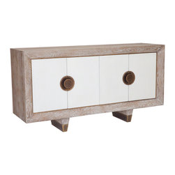 """Studio A - Geneva Media Cabinet - The Geneva media cabinet combines function and modern style. On a geometric silhouette, this white oak furnishing features two white crackled finish doors with antique brass handles. 68""""W x 20""""D x 36""""H; Made from American white oak; Brass sabots on legs; Includes an adjustable shelf for each compartment; Slat back design for connecting cables and wires"""