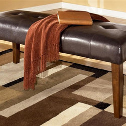 Signature Design by Ashley - Backless Bench in Medium Brown - Color/Finish: Medium Brown. Chairs is constructed with select Veneers and Hardwood solids. Dark Brown finish on chair legs. Assembly Instructions. 47 in. W x 18 in. D x 18 in. H
