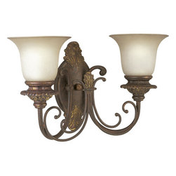 Thomasville Lighting - Thomasville Lighting P2705-75 Messina 2 Light Wall Sconce - Thomasville Lighting P2705-75 Two Light Messina Wall SconceEach fixture from the Messina Collection is painstakingly hand painted in a multi layer process to achieve the perfect aged antique effect. Add a timeless 19th century antique look to your home with this dual light wall sconce featuring a gorgeous Aged Mahogany finish incorporating decorative leaves, scrolls and intricate details with Sepia Haze Glass.Refresh interior settings with Messina�s iron scroll basket motif and traditional hand-painted accents. An Aged Mahogany finish is complemented by decorative leaf details in this collection.Thomasville Lighting P2705-75 Features: