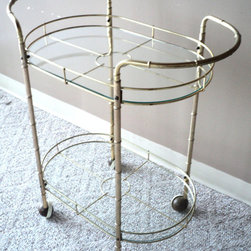 Hollywood Regency Faux Bamboo Brass Cart by Jules Moderne - I like a lot of brass and reflective surfaces in my decor. I would really love to have a brass bar cart like this to create a chic bar nook in my dining room.