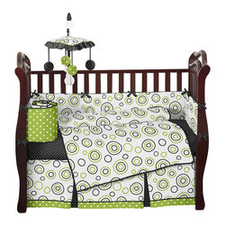 Sweet Jojo Designs - Spirodot Lime and Black 9-Piece Baby Crib Bedding Set by Sweet Jojo Designs - The baby bedding by Sweet Jojo Designs includes: comforter, bumper, dust ruffle, fitted sheet, toy bag, pillow, diaper stacker and 2 window valances.