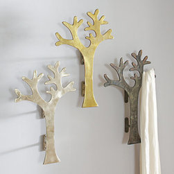 Grandin Road - Oversized Tree Hook - Hang your coat on a coat tree. Literally! Each limb of our beautiful Oversize Tree Hook cleverly serves as a coat hanger. But you're not done there. Our 100% cast aluminum hooks are strong and durable enough to use as pulls on larger doors. Talk about making a statement right at the front entrance. Do you have a home with tall ceilings and windows? Then use our Tree Hook as stunning curtain pulls sure to highlight both the windows and the curtains. Lastly, our Oversize Tree Hooks looks absolutely beautiful as a stand-alone wall accent, too. The glowing beauty of its cast aluminum along with its whimsical tree design create a sophisticated look however you choose to use them. Multifunctional Oversize Tree Hook made from cast aluminum . Use as a coat hanger, curtain pull, door pull or as a stand alone wall art . 100% cast aluminum . Arrives fully assembled . Hardware not included . Imported .