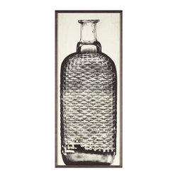 Kathy Kuo Home - Copper River Industrial Loft Bottle Black White Photo Wall Art - B - Framed - Bring an industrial-chic look to your wall with this stunning shot of a vintage bottle. Excavated in Alaska and thought to be centuries old, this bottle makes a bold black-and-white still life. This woven bottle photograph is available framed or unframed.