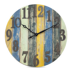 Vertuu Design - Porto Clock - Beach style hues and an aged, rustic look combine in the charming Porto Wall Clock. The clock's round shape, vertical wood panels and large metal numbers give it a bright, simple look, while the piece's distressed blue, green and yellow tones add texture. Hang it in a kitchen or living room for an easy and stylish way to tell time.