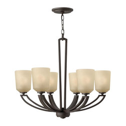 Hinkley Lighting - Hinkley Lighting Parker Transitional Chandelier X-ZK6344 - This gorgeous chandelier is a beautiful and efficient way to light up your home. The Hinkley Lighting Parker Transitional chandelier features a buckeye bronze finish and etched amber linen glass. Graceful double layer arms are displayed for a distinctive and elegant look.