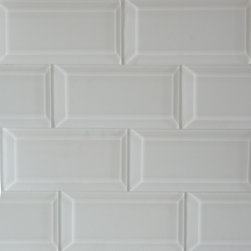 "SUBWAY BEVWG312 - White Solid Color Beveled Glossy Subway Mosaic Glass Tile 3x6 - White Solid Color Glossy Subway Beveled  Mosaic Glass Tile 3""x6"". Price is per square foot, for 8 pcs."