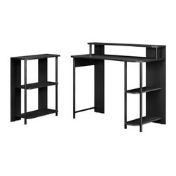 Altra Computer Desk and Bookcase Set - Black - Students know - school can make anyone shelf-happy, and the Altra Computer Desk and Bookcase Set - Black has the shelves they need to be happy. Made of laminate wood with metal legs, this computer desk and bookcase combo is finished in a versatile black. The bookcase features two open shelves for binders, notebooks, textbooks, and more, and the desk has two lower shelves, not to mention a riser on the top to display favorite knickknacks and photo frames. Assembly required.About Ameriwood ProductsAmeriwood Industries is one of the leading manufacturers of wood products such as unassembled furniture, stereo speaker cases, and stereo component racks in the United States. For more than 30 years, Ameriwood has helped furnish homes across North America with ready-to-assemble furniture. Crafted from engineered wood, Ameriwood products are dense and durable, for years of use.