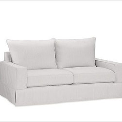 """PB Comfort SquareLoveseat Knife-EdgeTextured BasketWeaveIvoryPoly - Built by our exclusive master upholsterers in the heart of North Carolina, our PB Comfort Square Slipcovered Love Seat is designed for unparalleled comfort with deep seats and three layers of padding. 63"""" w x 40"""" d x 37"""" h {{link path='pages/popups/PB-FG-Comfort-Square-Arm-4.html' class='popup' width='720' height='800'}}View the dimension diagram for more information{{/link}}. {{link path='pages/popups/PB-FG-Comfort-Square-Arm-6.html' class='popup' width='720' height='800'}}The fit & measuring guide should be read prior to placing your order{{/link}}. Choose polyester wrapped cushions for a tailored and neat look, or down-blend for a casual and relaxed look. Choice of knife-edged or box-style back cushions. Proudly made in America, {{link path='/stylehouse/videos/videos/pbq_v36_rel.html?cm_sp=Video_PIP-_-PBQUALITY-_-SUTTER_STREET' class='popup' width='950' height='300'}}view video{{/link}}. For shipping and return information, click on the shipping tab. When making your selection, see the Quick Ship and Special Order fabrics below. {{link path='pages/popups/PB-FG-Comfort-Square-Arm-7.html' class='popup' width='720' height='800'}} Additional fabrics not shown below can be seen here{{/link}}. Please call 1.888.779.5176 to place your order for these additional fabrics."""