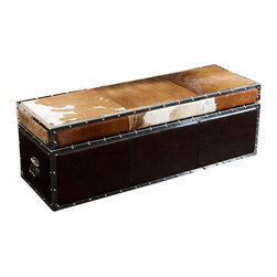 Great Deal Furniture - McCoy Cowhide Top Leather Storage Ottoman - Invite the West inside. This fun cowhide leather ottoman will add character without overwhelming your decor. It's a table, ottoman and storage unit all in one. You'll be the only one on the block with this versatile and unique piece of furniture.