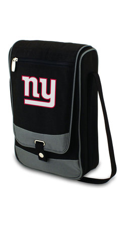"Picnic Time - New York Giants Barossa Wine Tote in Black - The Barossa is so sleek and sophisticated, you'll want to take it with you every chance you get. It's made of 600D polyester and features an adjustable shoulder strap that makes it easy to carry and a flat zippered pocket on the exterior flap. The Barossa is fully insulated to keep your wine the perfect temperature and has a divided interior compartment to separate your bottle of wine from the 2 (8 oz.) acrylic wine glasses included. Also included are: 1 stainless steel waiter style corkscrew, 1 bottle stopper (nickel-plated), and 2 napkins (100% cotton, 14 x 14"", Black with silver pinstripe). The Barossa wine tote is perfect for picnics, concerts, or travel and makes a wonderful gift for those who enjoy wine.; Decoration: Digital Print; Includes: 15 stainless steel waiter style corkscrew, 1 bottle stopper (nickel-plated), and 2 napkins (100% cotton, 14 x 14"", Black with silver pinstripe)"
