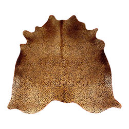Hollywood Love Rugs - Cheetah Print Cowhide on Caramel  Select Brazilian - The popular standard cheetah print pattern stenciled cowhide on Caramel. All animal print cowhide rugs, are stenciled and dyed in the tanning process and thus the patterns are permanent.They are perfect as area rugs, wall hangings or drapes and throws. Extremely durable, these Brazilian select chromium tanned cowhide rugs can last a lifetime, and are easily cleaned with Woolite and cold water. 100% Brazil Quality. Each of our hair on cowhides is hand picked.   Main characteristics of our Brazilian Hair On Cowhides reside in the softness and spotless cleanliness of the suede back side, and a uniform short and shiny hair on the other.