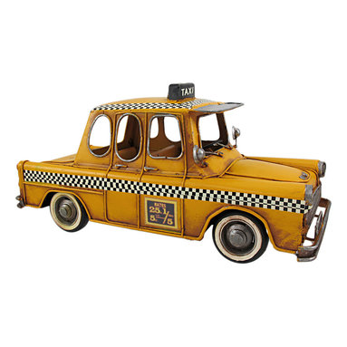 Zeckos - Retro 1950s Style Yellow Checker Cab Taxi Decoration - This retro 1950's metal taxi cab decoration is a must-have for collectors. The vehicle measures 5 1/2 inches tall, 11 inches long and 4 1/2 inches wide. It has excellent detailing, and is hand-painted.