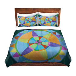 DiaNoche Designs - Duvet Cover Microfiber by Jennifer Baird - Mandala I A - DiaNoche Designs works with artists from around the world to bring unique, artistic products to decorate all aspects of your home.  Super lightweight and extremely soft Premium Microfiber Duvet Cover (only) in sizes Twin, Queen, King.  Shams NOT included.  This duvet is designed to wash upon arrival for maximum softness.   Each duvet starts by looming the fabric and cutting to the size ordered.  The Image is printed and your Duvet Cover is meticulously sewn together with ties in each corner and a hidden zip closure.  All in the USA!!  Poly microfiber top and underside.  Dye Sublimation printing permanently adheres the ink to the material for long life and durability.  Machine Washable cold with light detergent and dry on low.  Product may vary slightly from image.  Shams not included.