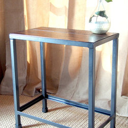 Industrial chic end tables - design your own, ships free - We don't sell furniture; we sell family heirlooms. These sturdy industrial chic pieces make a statement in any decor style and their warmth and character is timeless. The patina of these pieces only gets better with age--and even better--no more stressing over water stains. These tables are tough enough to handle life--beautifully.