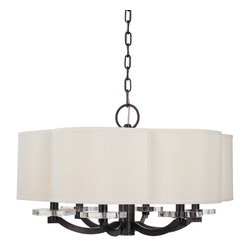 Hudson Valley Lighting - Garrison Chandelier - Garrison Chandelier features a sleek metal frame in either old bronze or polished nickel finishes and a white silk shade. Available in a 6-light or 8-light version. Either (6) or (8) 60-watt, 120 volt B10 candelabra base incandescent bulbs are required, but not included. Dimensions: 6-light: 26W x 23.5H. 8-light: 32W x 25.75H.