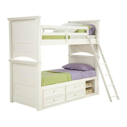 LC Kids - Summer Breeze Hardwood Twin Bunk Bed in White Finish - These bunk beds are the optimum solution with families who have limited space. Both feature a white finish which accents any décor. Add the lower storage section for even more space saving appeal. Summer Breeze Collection. Includes headboard, footboard, rails, slat roll & ladder. Trundle or underbed storage unit not included. Bunk extension kit is optional to make a Twin Over Full Bunk Bed. Slat roll required and is included for underbed storage. Bunk Bed Warning. Please read before purchase.. NOTE: ivgStores DOES NOT offer assembly on loft beds or bunk beds. Twin over Twin Bunk: 71 in. W x 84 in. D x 78 in. H. Trundle: 77 in. W x 20 in. D x 20 in. H