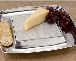 "KINDWER - 15"" Square Aluminum Cheese Tray and Cracker Holder - 15"" square serving tray features a mirror polished finish with a 3"" tray circling the marble serving.  Pop the removable 8x8"" white marble slab from the tray base and chill it in the refrigerator prior to serving. Crafted of food-safe cast aluminum."