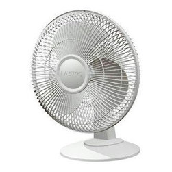 "Lasko Products - Table Fan 3-Speed 12"" White - 12"" Oscillating Table Fan With 3 Quiet Speeds.  Wide Area Oscillation.  Tilt Back Feature. Easy Grip Rotary Control. Simple No Tool Assembly.  Ideal For All Rooms. Includes a patented Fused Safety Plug.  EL Listed.  Made In The USA."
