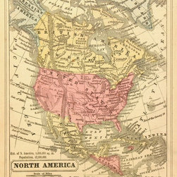 Consignment Original Antique Map of North America, 1856 - Original antique engraving of North America for a Colton school geography from 1856. Over 150 years old. Includes school questionnaire at bottom. Shows Russian Alaska, some Indian tribes and forts. Original hand coloring.