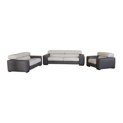 VIG Furniture - Menphis Two-Tone Grey Top Grain Italian Leather 3 Piece Sofa Set - The Menphis sofa set is a great addition for any modern themed living room decor. This sofa set comes fully upholstered in a beautiful two-tone dark grey and light grey top grain Italian leather. High density foam is placed within the cushions for added comfort. Each piece features adjustable headrests adding a extra touch of relaxation. The sofa set includes a sofa, loveseat, and chair only.