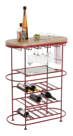 """Arteriors - Arteriors Home - Hetty Bar - 4262 - The oval Hetty Bar Cart provides storage for a variety of bar essentials. The distressed red iron frame Features: a natural wood top and an antiqued mirrored shelf. Load up your favorite libations and let the party begin. Features: Hetty Collection Bar Distressed Red Painted IronNatural Waxed WoodAntique Mirror Some Assembly Required. Dimensions: W: 32"""" x D: 15.5"""" x H: 41"""""""