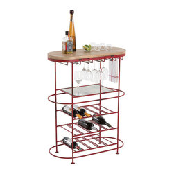 "Arteriors - Arteriors Home - Hetty Bar - 4262 - The oval Hetty Bar Cart provides storage for a variety of bar essentials. The distressed red iron frame Features: a natural wood top and an antiqued mirrored shelf. Load up your favorite libations and let the party begin. Features: Hetty Collection Bar Distressed Red Painted IronNatural Waxed WoodAntique Mirror Some Assembly Required. Dimensions: W: 32"" x D: 15.5"" x H: 41"""