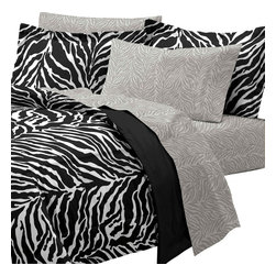 CHF Industries Inc - Zebra Print Queen Bedding Set 7 Piece Black White Bed - Features: