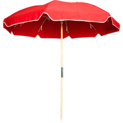 Sunrise Chair Company - Sunrise Beach Umbrella, Fiberlite Frame -  Jockey Red - Sunrise hearty beach umbrellas are perfect for a sunny day on the beach with family and friends & provide a stylish way to enjoy fun in the sun while keeping yourselves and your belongings cool in the shade.