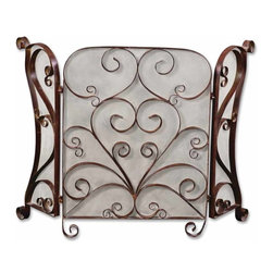 Uttermost - Daymeion Metal Fireplace Screen - Fireplace screens can enhance or completely change the look of your fireplace. This one gives you a complete change. The hand-forged metal is a slightly distressed cocoa brown finish and the swirling metal gives your fireplace a design all its own.