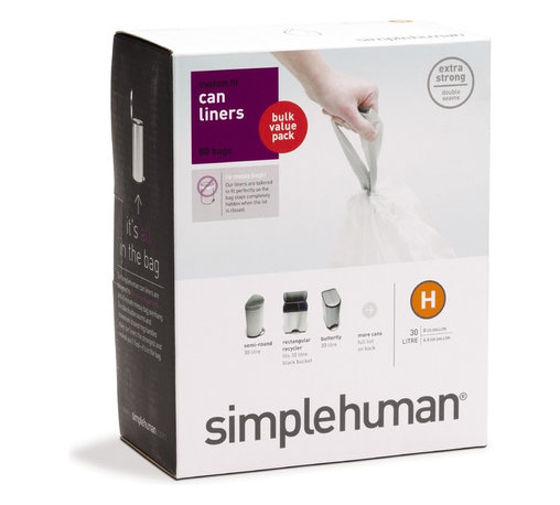 simplehuman - Code H Custom Fit Can Liners, 30-35 Liters, 50 Pack - Taking care of trash just got easier. When you use liners specially designed to fit your simplehuman can, you'll banish messy bag bunching, rely on rip-resistant construction and dispose in a snap thanks to strong drawstring handles.