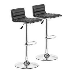 """Zuo - Set of Two Adjustable Zuo Equation Black Barstools - Set of Two Adjustable Zuo Equation Black Barstools. Zuo adjustable black barstools. Set of 2. Chromed steel construction. Black leatherette upholstery. Adjustable swivel base. From the Equation collection. Assembly required. Seat adjusts from 23"""" to 32"""" high. 31"""" to 38 1/2"""" high. 16 1/2"""" deep. 15 3/4"""" wide.   Zuo adjustable black barstools.  Set of 2.  Chromed steel construction.  Black leatherette upholstery.  Adjustable swivel base.  From the Equation collection.  Assembly required.  Seat adjusts from 23"""" to 32"""" high.  31"""" to 38 1/2"""" high.  16 1/2"""" deep.  15 3/4"""" wide."""