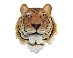Bengal Tiger Head Mount Wall Statue Bust - This awesome, cold cast resin replica Bengal Tiger wall mount is a prefect addition to any jungle themed room. The head measures 16 inches tall, 13 1/4 inches wide and 8 inches deep. The detail is incredible, down to the hand painted eyes. This tiger`s head is brand new, and makes a great gift for any big cat fan or Cincinnati football fans.