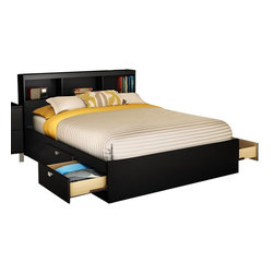 South Shore - South Shore Affinato Full Bookcase Storage Bed Set in Solid Black Finish - South Shore - Beds - 3270211093PKG