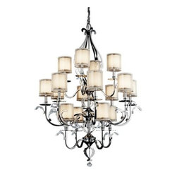 "Kichler - Jardine 3-Tier Chandelier by Kichler - In large spaces, the Kichler Jardine 3-Tier Chandelier provides nearly four and-a-half feet of organic, romantic sparkle. It features sixteen lights, each with a Cased Opal glass inner shade overlaid by another Metallic Frosted shade. Like shimmering blossoms they sit on curvaceous, stem-like arms bedecked in petite, leafy curves of crystal.Since 1938, Cleveland-based Kichler Lighting has created exceptional lighting in a variety of styles, finishes, colors and designs. With a diverse collection of indoor and outdoor lighting in classic and contemporary styles, Kichler Lighting always focuses on making home lighting that is both beautiful and functional.The Kichler Jardine 3-Tier Chandelier is available with the following:Details:16 cylindrical Metallic Frosted outer shades16 cylindrical Cased Opal inner glass shadesLaser-cut steel frameChrome finishPolished K9 optical crystal accentsRound ceiling canopy72"" suspension chain44"" wire leadUL ListedLighting:Sixteen 60 Watt 120 Volt Candelabra Base Incandescent lamps (not included).Shipping:This item usually ships in 3-5 days."
