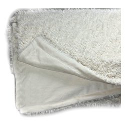 Fur Accents - Soft Mongolian Lamb Throw Blanket, Shearling Bedspread, Reversible, 5x6 - Uniquely Original Faux Shearling, Lambskin Faux Fur Cuddle Throw Blanket / Bedspread / Comforter. Softest Mongolian Sheepskin Fleece Bedding. Creamy Off White. Minky Cuddle Fur Lining. Unique and Exclusive Design. Made from 100% Animal Free and Eco Friendly Fibers. If you are looking for a new Focal Point for your room this is it. So comfortable and elegant. Supple Fur tastefully lined with silky soft Cuddle Fur and its Reversible. Luxury, Quality and Unique Style suitable for the most discriminating Designer / Decorator.